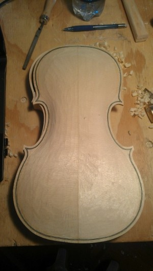 This is my top plate, all purfled up and ready to arch.