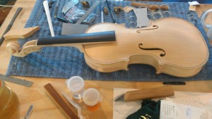 This baroque violin is another example of fine workmanship at the workshop.